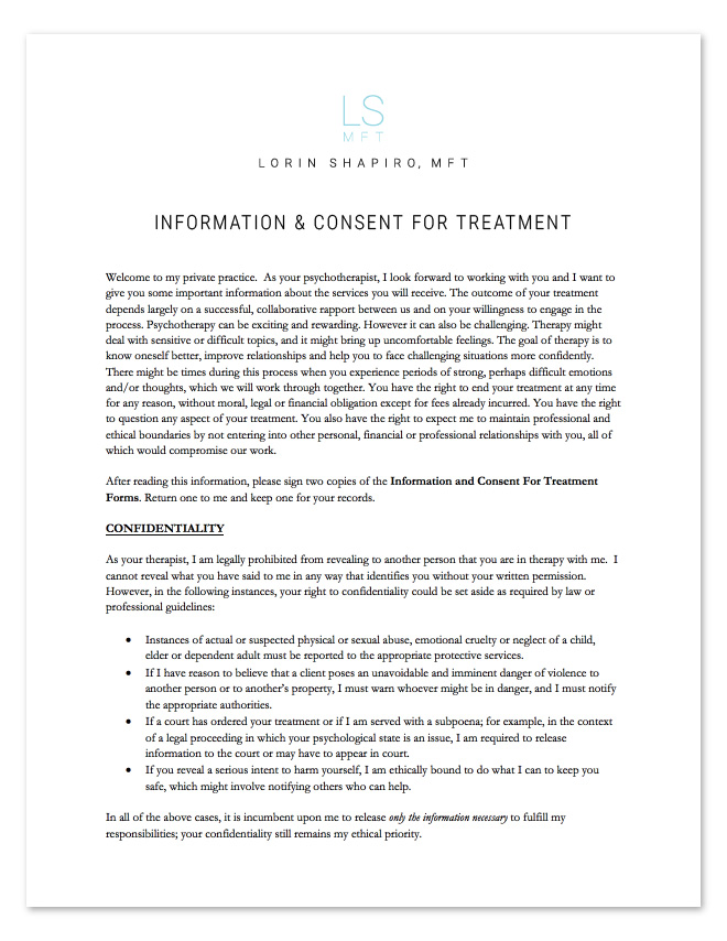 Information and Consent for Treatment Form - Lorin Shapiro MFT