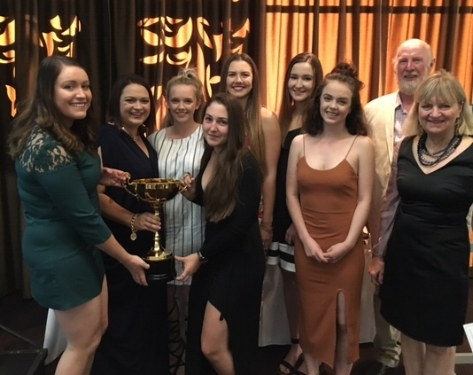 """Staff members photographed with """"The Muswellbrook Cup"""""""
