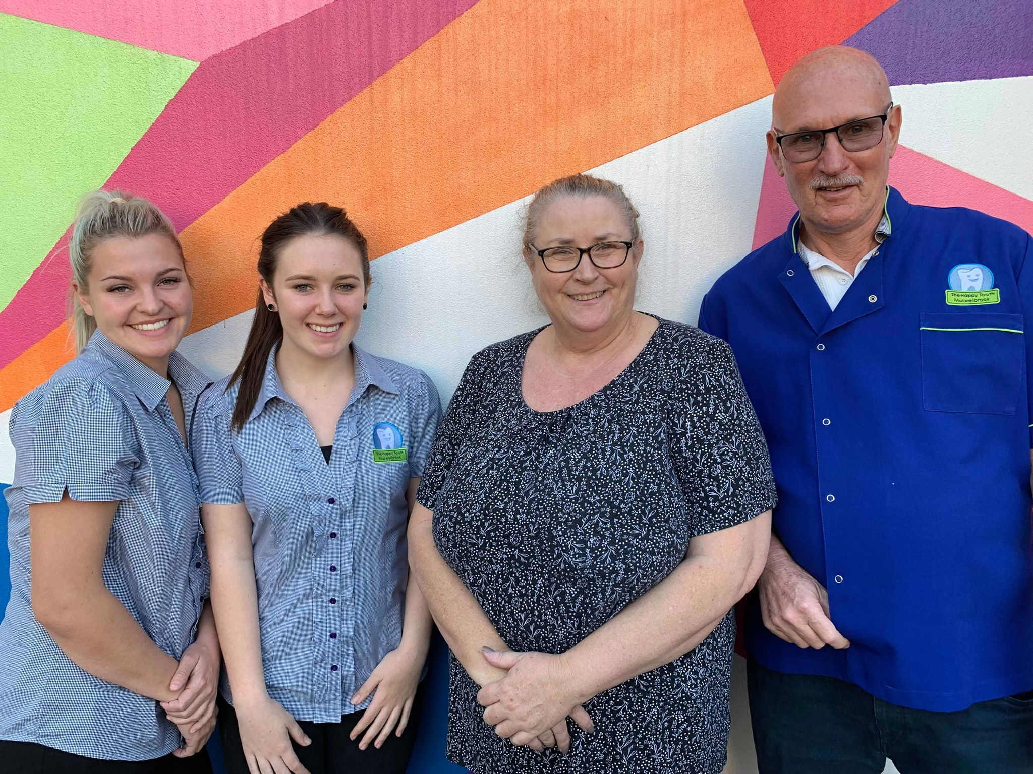 Dental Assistants Steph and Lucy, with Cathy Schafer and Dr Paul O'Neill