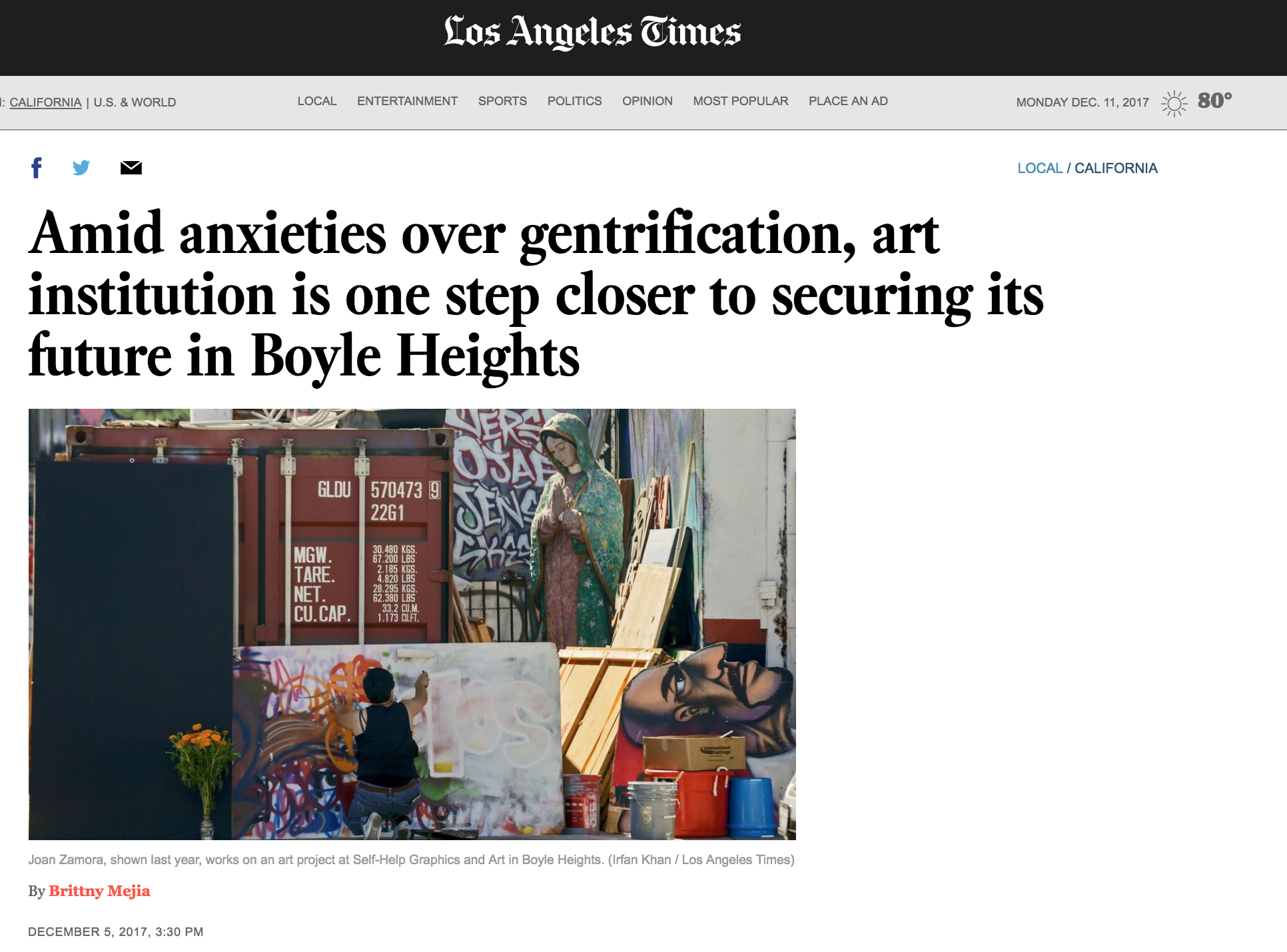 Amid concerns about displacement that at one point roped it into an ongoing battle over gentrification, a venerable Eastside art institution got closer to securing its future through a planned purchase of its longtime headquarters in Boyle Heights.  The Los Angeles City Council voted Tuesday to approve an $825,000 funding commitment proposed by Councilman Jose Huizar to help Self Help Graphics and Art purchase the property along East 1st Street...  continue reading