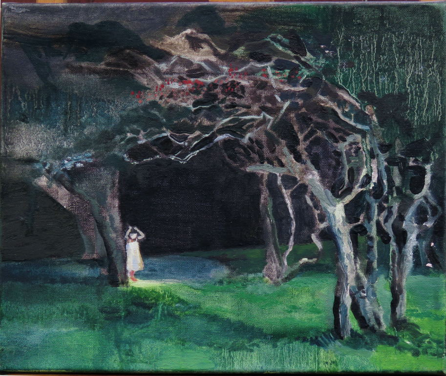 'Gwen in her wood', 30 x 25cm -£350