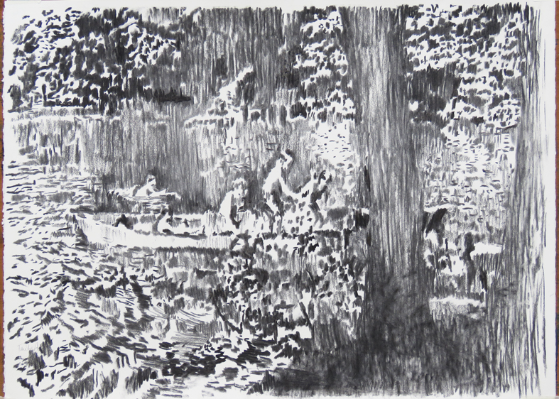 Mary's lake, charcoal on paper