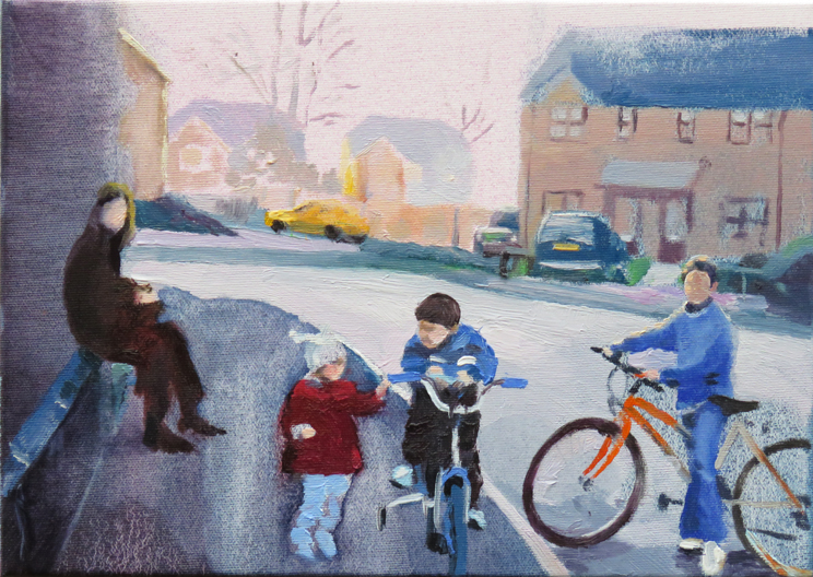 Bikes on Newmoor Estate, 35 x 25cm -sold