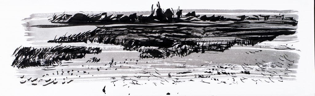 'Towards Rye Harbour' Giclee print of watercolour study, made through painting with a seagull feather, printed on German 310g Hunhemuhle etching paper,