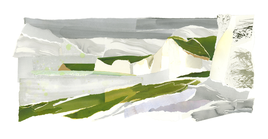 The Seven Sisters from Birling Gap Beach, giclee print of an original collage