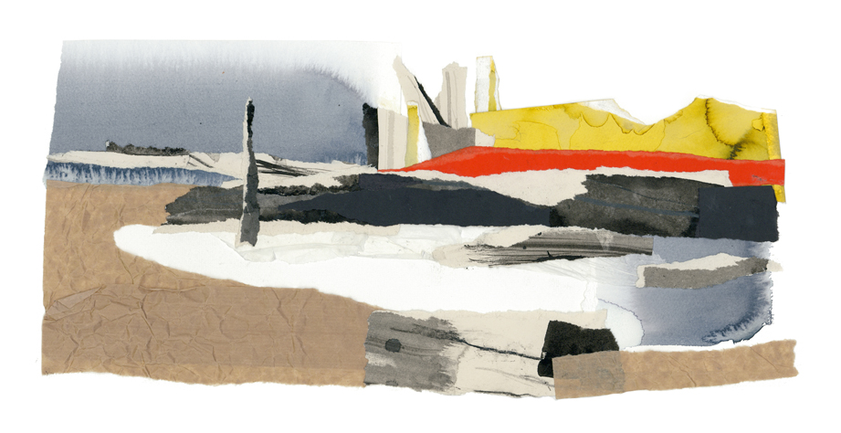 'Towards Rye Harbour' giclee print of original collage.