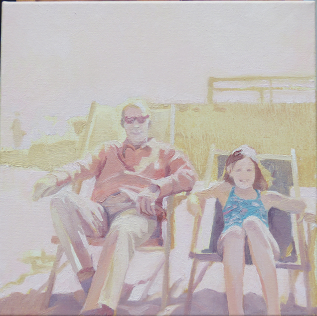 'On holiday with dad' 30 x 30cm -sold