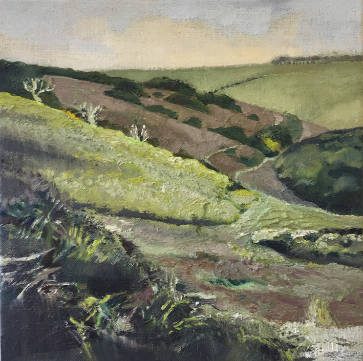 Towards Horseshoe Wood, oil on canvas, 30 x 30cm