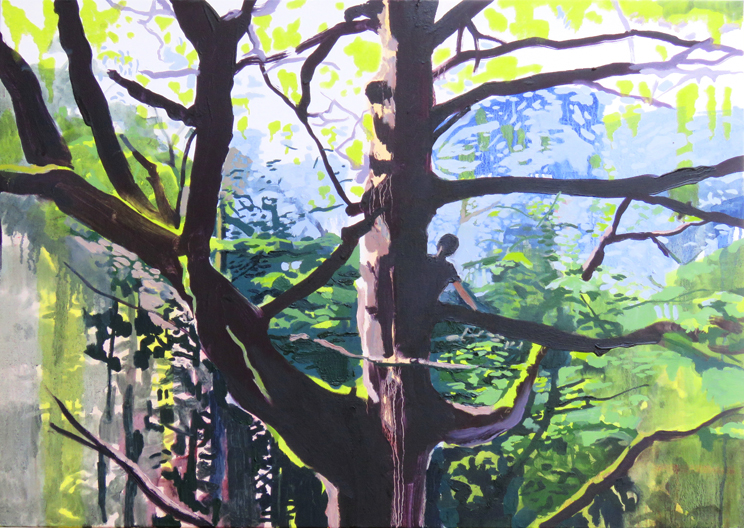 'Tree Climber' oil on canvas, 80cm x 60cm
