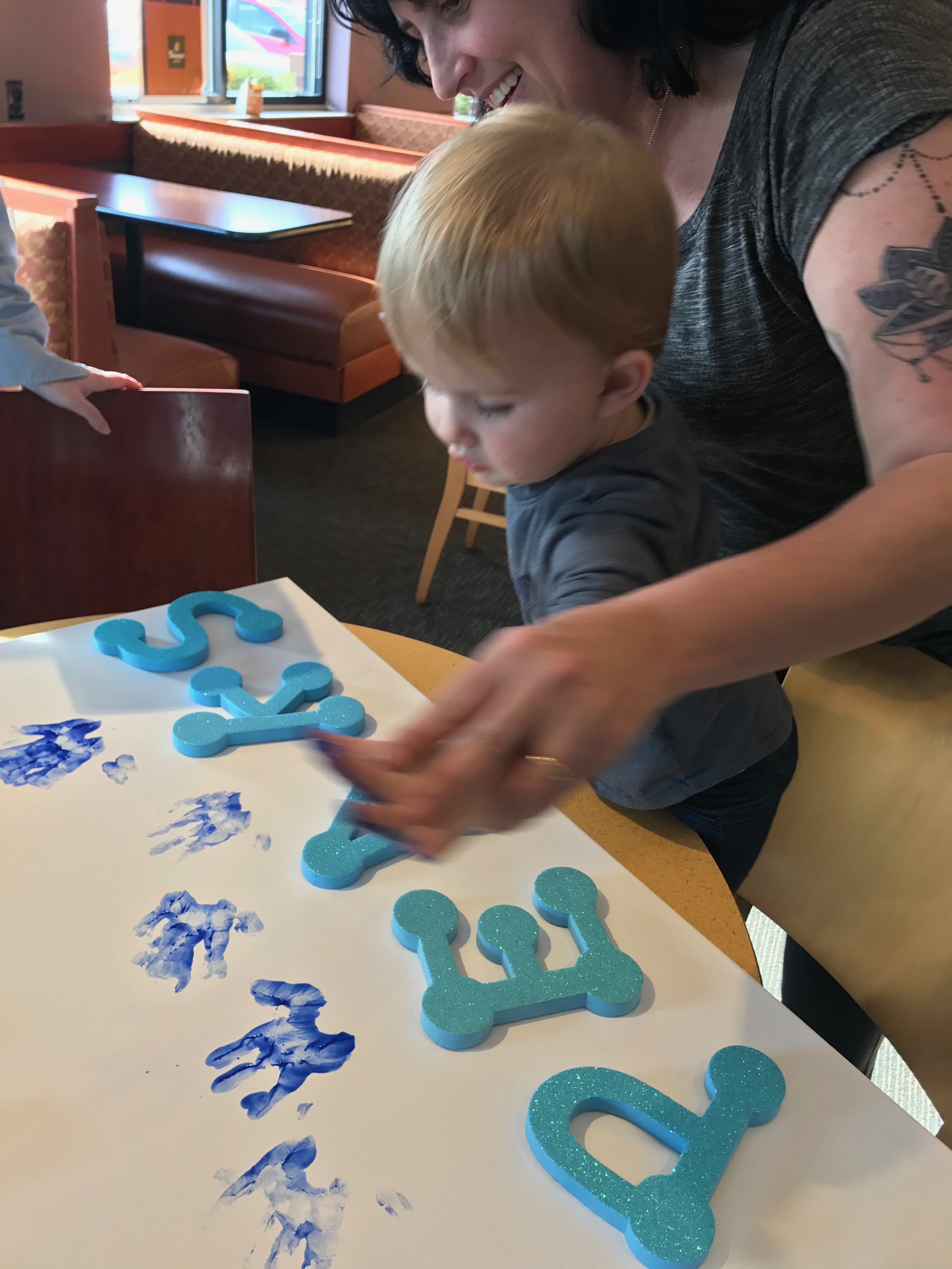 Lending her hands to Autism Speaks at Panera in Columbus, OH
