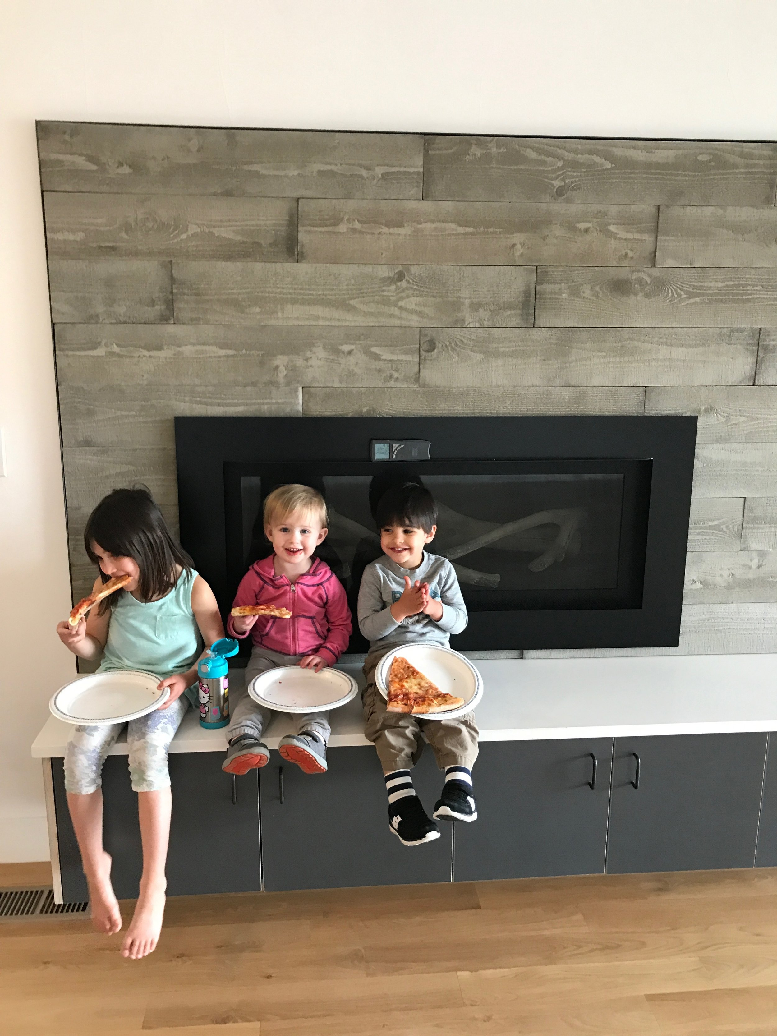 First pizza party at our new house. Sans furniture, of course. That took 5 extra weeks to arrive.