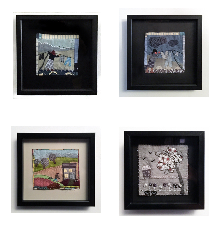 All work is surface mounted in box frames glazed with glass. Fixings for hanging are attached.