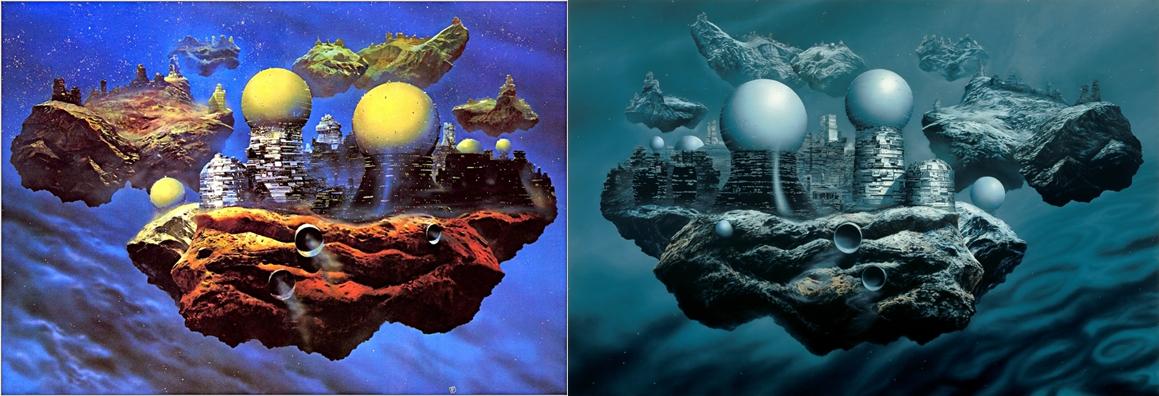 Left image: Chris Foss  Floating Cities // ©ChrisFossArt Right image: Glenn Brown  Bocklin's Tomb (copied from 'Floating Cities' by Chris Foss) 1998   // © Glenn Brown Artworks