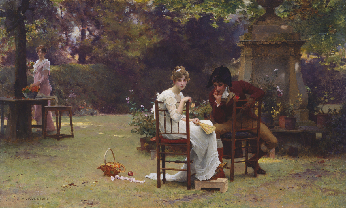 Two's Company, Three's None  (1860-1892) Marcus Stone R.A. © Manchester City Galleries