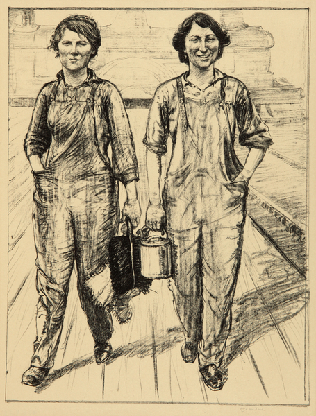 Women's Work: On the Railways, Engine and Carriage Cleaners  (1918)  Archibald Standish Hartrick ©Manchester City Galleries