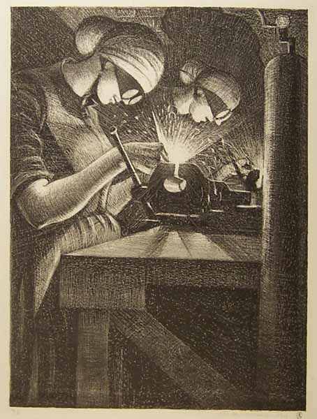 Making Aircraft: Acetylene Welder  (1917) Christopher Richard Wynne Nevinson © Manchester City Galleries