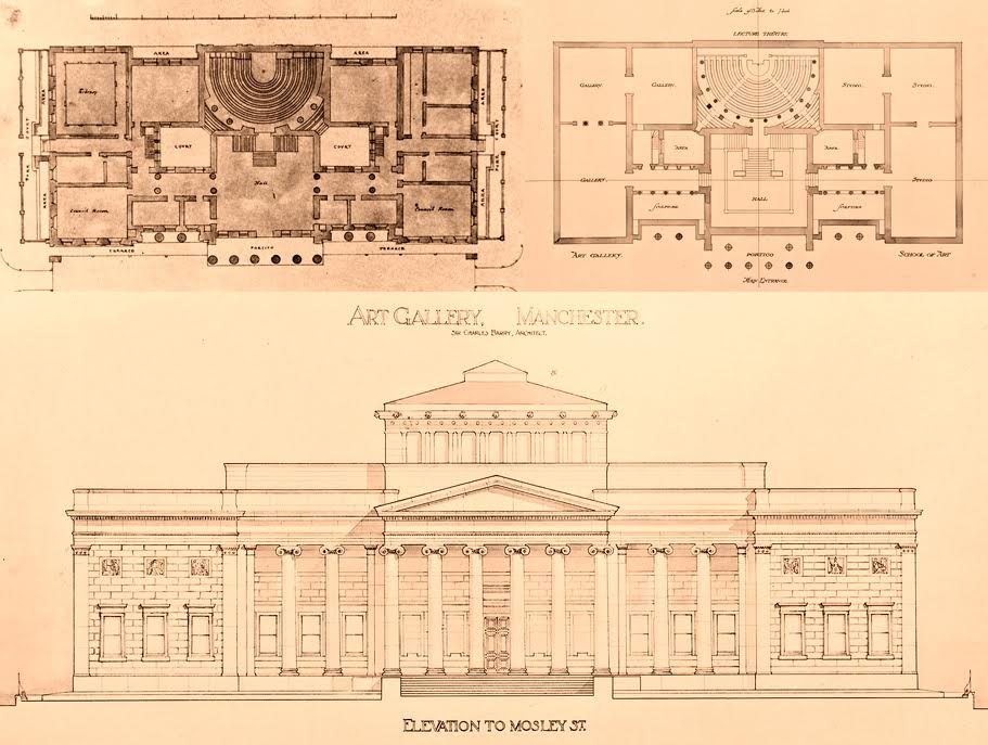 Winning competition designs for the Royal Manchester Institution, 1824, by Charles Barry