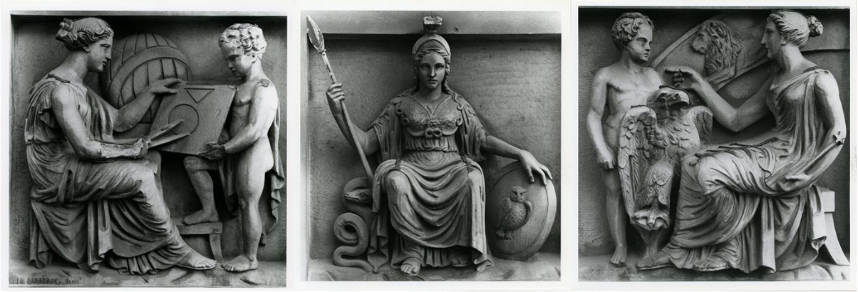 John Henning's sculptures adorning the south wing of the RMI, Mathematics, Wisdom and Astronomy Credit: Manchester City Galleries