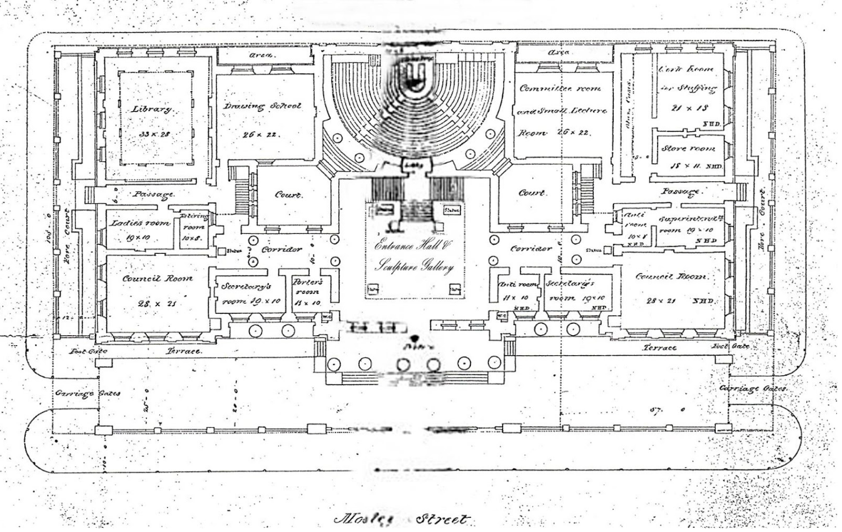 Original Ground Floor Plan of the RMI by Charles Barry, showing the pit of the lecture theatre, which is now the gallery shop credit: Manchester City Galleries