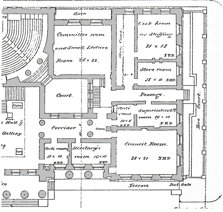 Detail of the South Wing Ground Floor Plan showing what is now the Gallery Café & Drawing Room and the Charles Rutherston Meeting Room credit: Manchester City Galleries