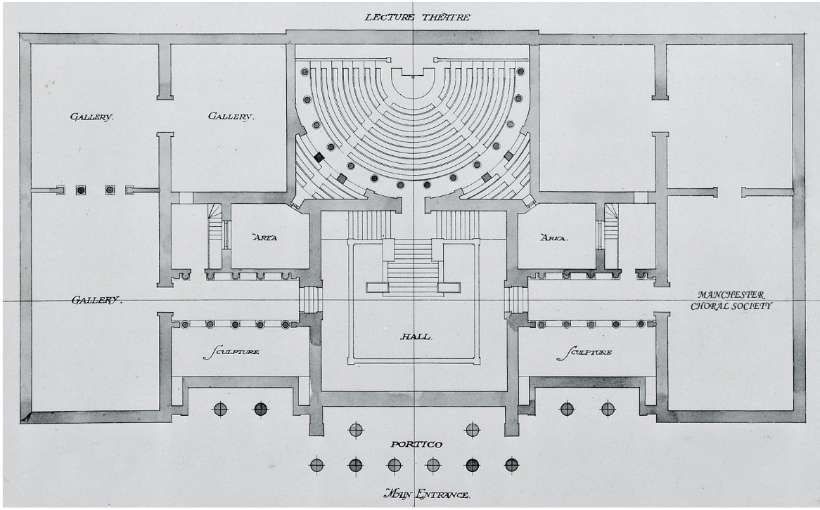 Original First Floor Plan of the RMI by Charles Barry, showing what is now galleries 3 – 11 along with the gallery of the lecture theatre which is now Gallery 7 credit: Manchester City Galleries