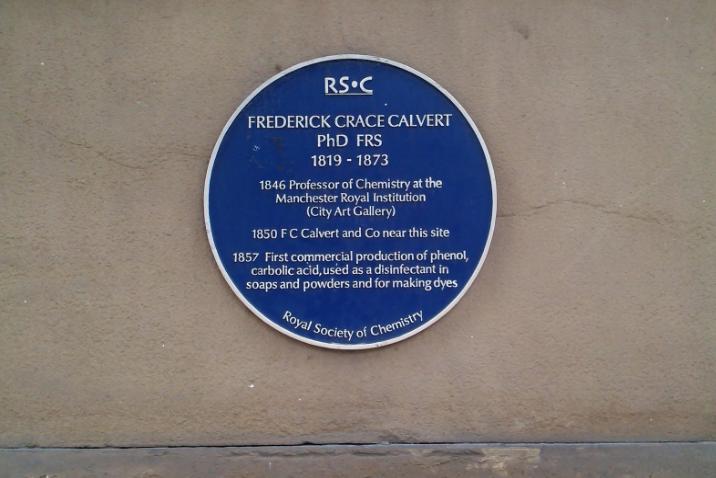 Frederick Crace Calvert's Royal Society of Chemistry plaque on Princess Street