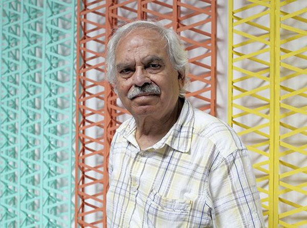 Rasheed Araeen photographed during the exhibition  Rasheed Araeen: Before and After Minimalism  at Sharjah Art Foundation, 2014. Image courtesy of Sharjah Art Foundation