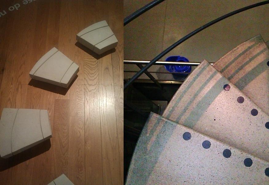 (l) Spiral II  (1983) by Kim Lim  (r) Staff Stairs