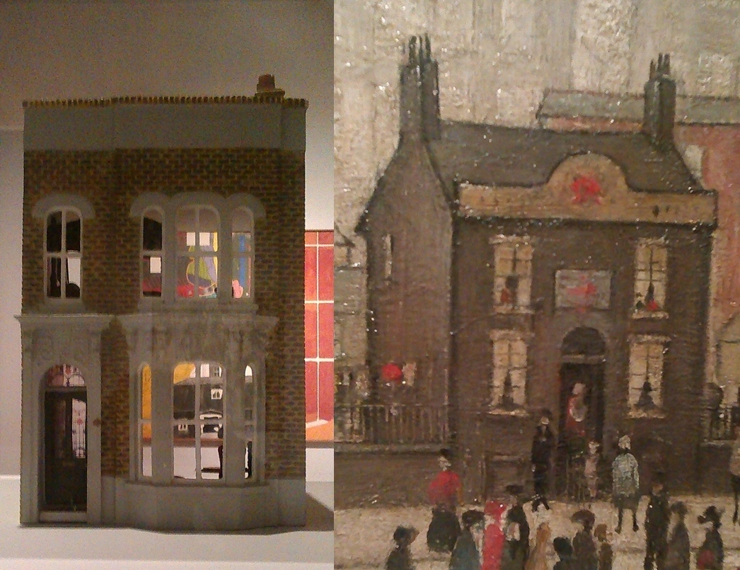 (l)  Untitled [Dollhouse]  (2002) by Yinka Shonibare  (r) Detail -  Coming Home from the Mill  (1928) by L. S. Lowry (gallery 16)