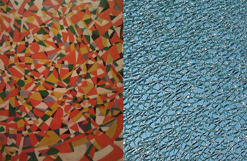 (l)  Red Composition  (1959) by Fahrelnissa Zeid  (r) Shattered glass pane, second floor landing