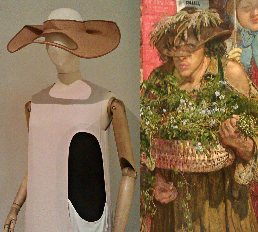 (l)  Column dress and hat Barbara S/S  (2013) designed by Peter Jensen (gallery 19)  (r) Detail - Wildflower Seller from  Work  (1865) by Ford Madox Brown