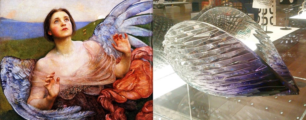 (l)  The Sense of Sight (1895)  by Annie Swynnerton, National Museums Liverpool / Walker Art Gallery  (r)  Planet Lilac  (2012) by Lena Bergstrom (gallery 19)