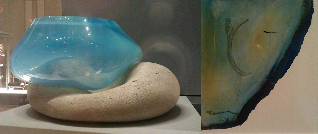 (l)  Fire and Ice  (2016) by Amy Quinn (gallery 19)  (r)  Newborough 2  (2004) by Terry Duffy