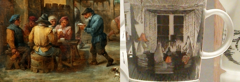 (l) Detail -  Peasants Playing Cards and Skittles in a Yard  (1650) by David Teniers the Younger (Gallery 14)  (r)  True to its Origins, mug  (2017) by Tove Slotte (gallery 19)