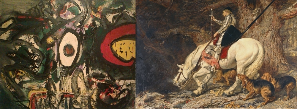 (l)  Elephant's Eyeful  (1960) by Alan Davie  (r)  In Manus, Tuas Domine  (1879) by Briton Riviere (gallery 9)