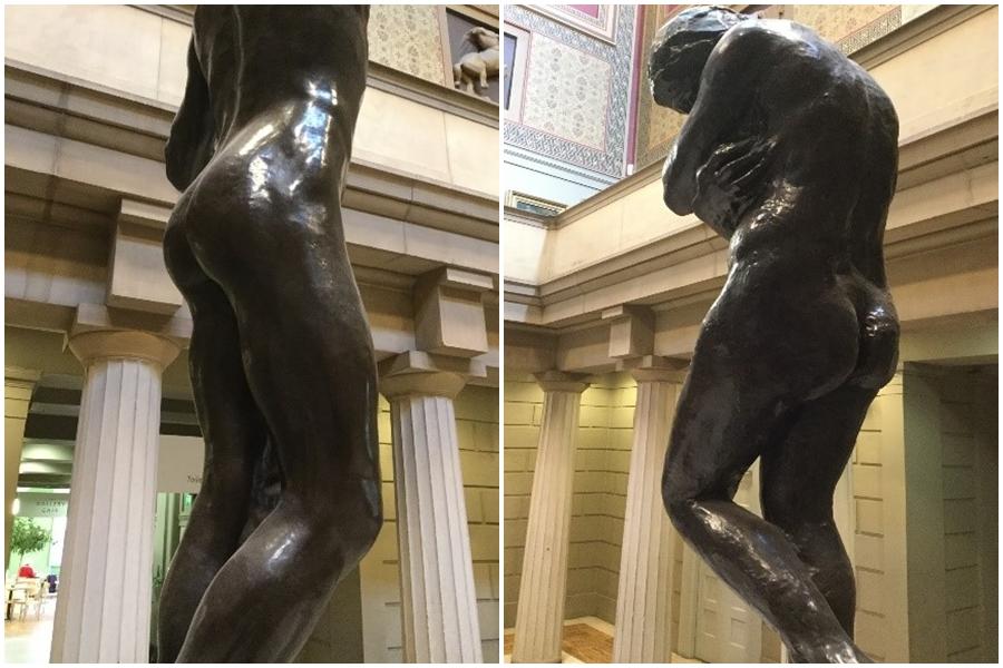 RIght:  The Age of Bronze  (1878) Rodin           Left:  Eve  (1911) Rodin