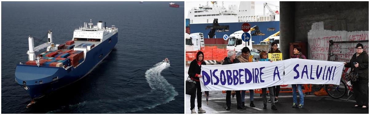 (l) The Bahri Yanbu © Benoit Tessier/ Reuters (r) Genoa dock protest © EPA