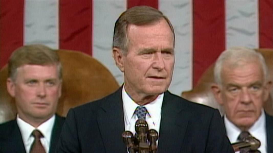 President George H.W. Bush addresses Congress on September 22, 1990.