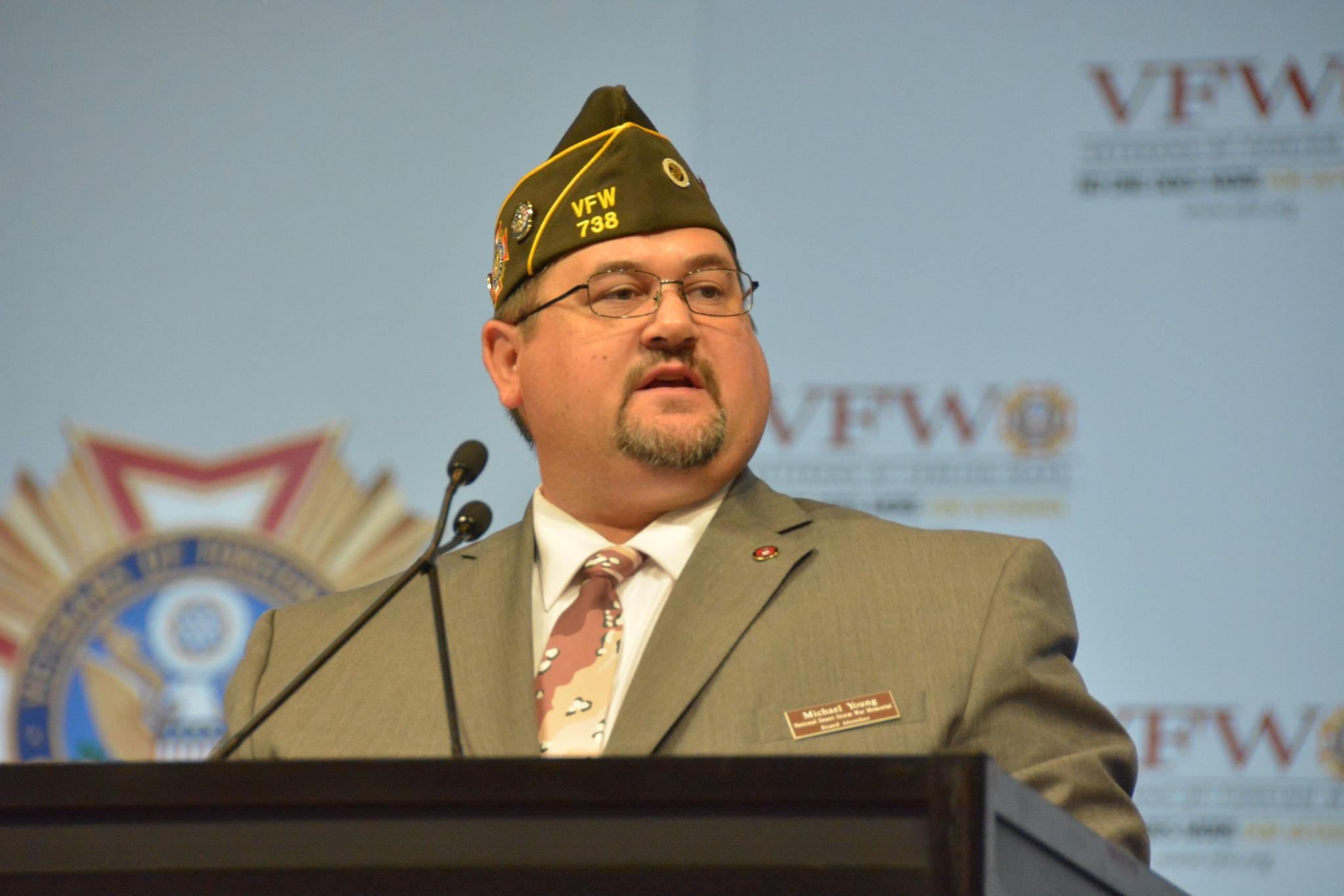NDSWM Board Member Michael Young gave an update on the progress to build the National Desert Storm and Desert Shield Memorial at the 118th VFW National Convention in New Orleans.