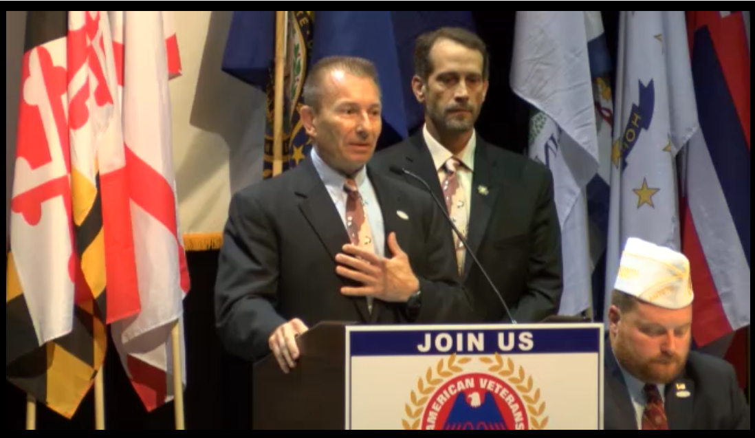NDSWM CEO, Scott Stump and Vice President, Bob Adams speak about the National Desert Storm and Desert Shield memorial at the 73rd National AMVETS convention