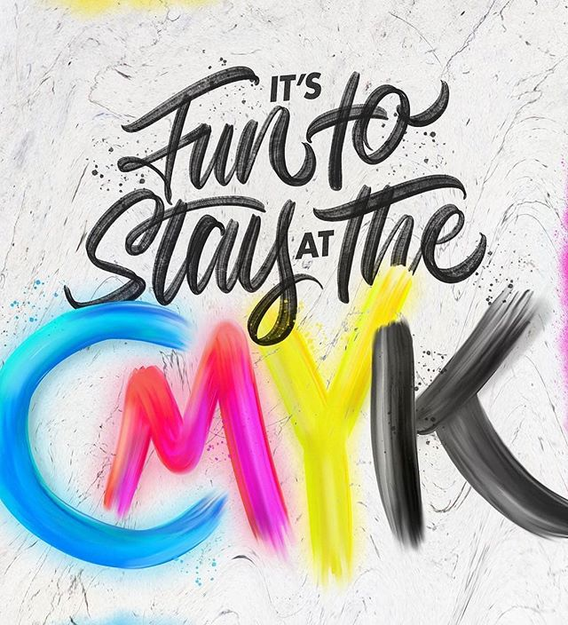 "Oh this is a great graphic! . For those that don't know...cmyk is the color mode for printing (respectively, rgb is the color mode for the web). So cmyk is where we ""live!"" Woohoo! . Reposted from @jansarts -  It's Fun To Stay At The C.M.Y.K!🤷🏻‍♂️🙆🏻‍♂️🙅🏻‍♂️🙋🏻‍♂️🎨 . . . . . #lettering #handlettering #goodtype #typegang #typography #calligraphy #thedailytype #type #cmyk #typespire #brushpen #brushlettering #handmadefont #typeverything #typetopia #handwriting #printing #cleveland  #print #thecalligraphyhub #typism #letteringdaily #graffitiart #digitalart #graphicdesign - #regrann"