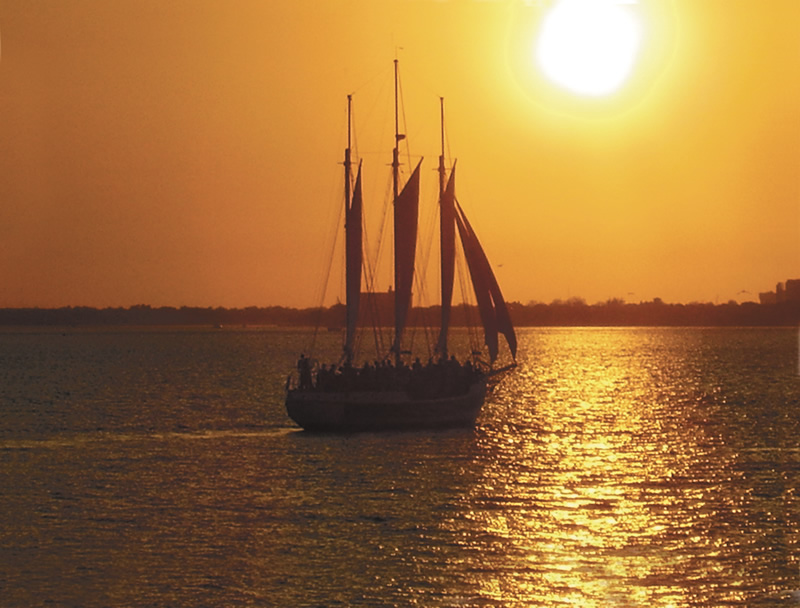Schooler Pride  in the harbor during sunset.