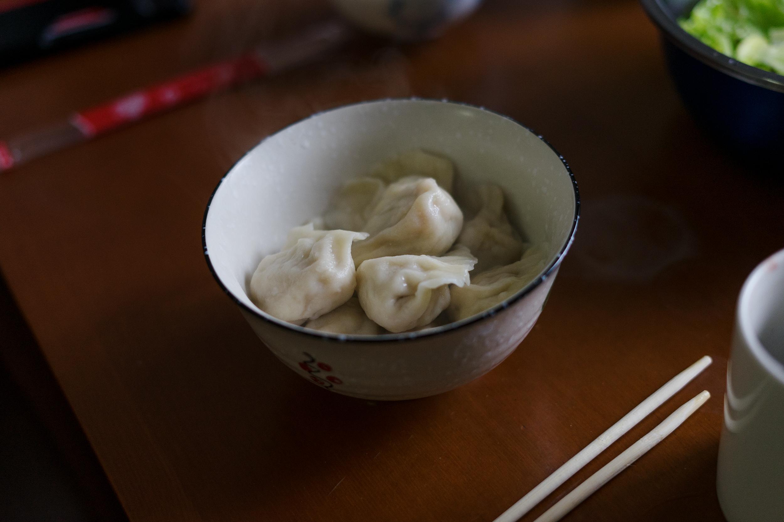 Birthday dumplings a la Nancy & her aunt.