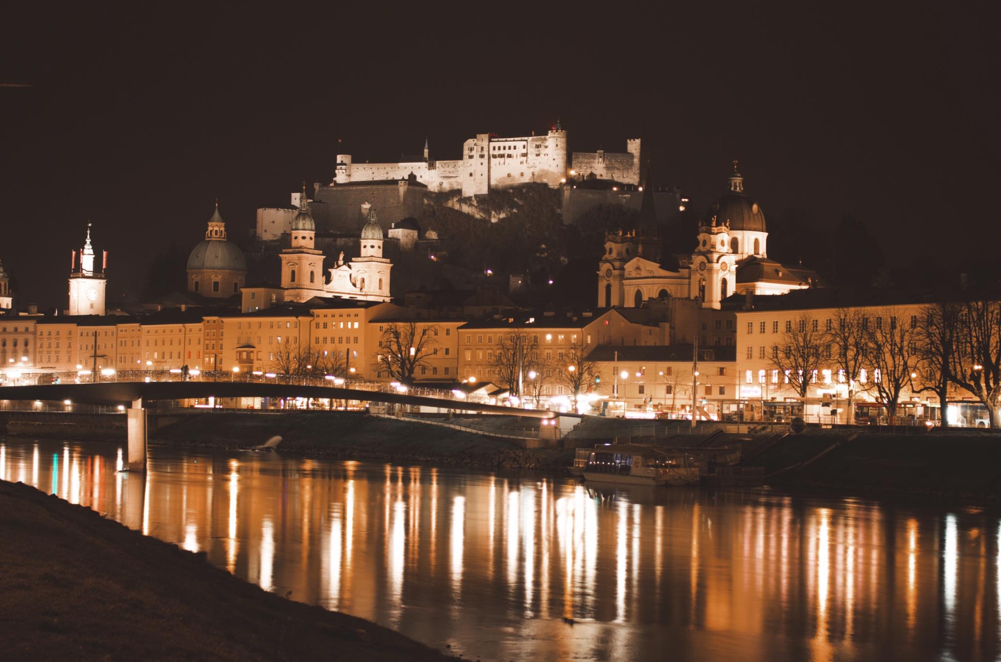 Salzburg Fortress at Night