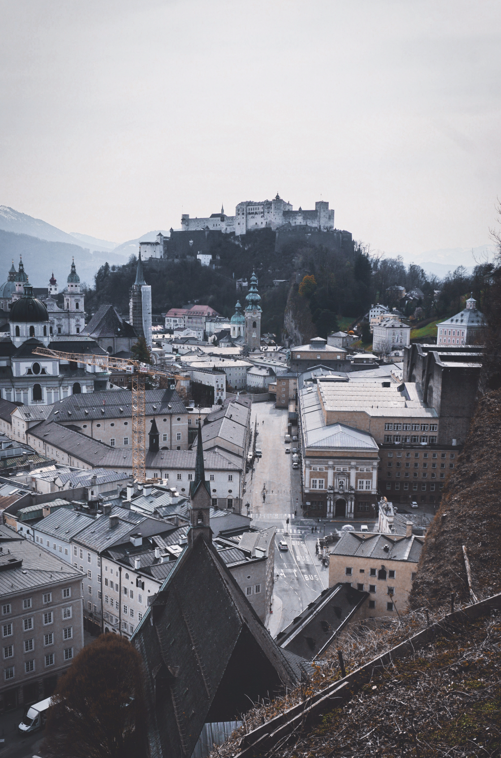 View from the Museum/Cafe Terrace towards the Salzburg Fortress