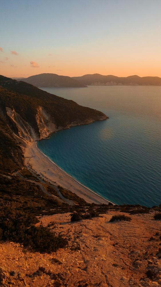 Myrtos Beach at Sunset