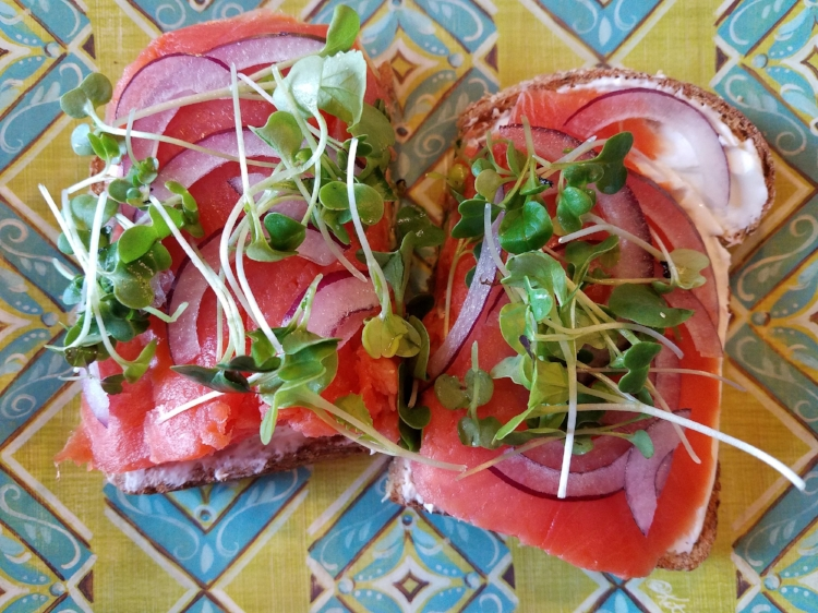 Wild Salmon, Cream Cheese, Red Onion, Sprouts on Organic Sprouted Whole Wheat Toast (because I fixed my digestion). Prep time: Under 10 minutes (Tam John photo)