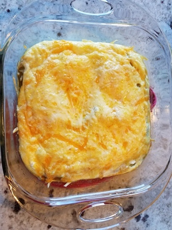 Zesty Green Chile Egg Casserole looks like a melty golden delight and it is, but underneath, there are fluffy eggs and savory green chiles and spice perfection.  Get the recipe with  Tam John, Integrative Wellness Leader and Functional Nutrition Coach' s DIY Wellness blog  here