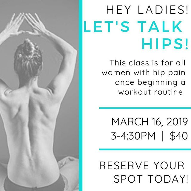 This Saturday! 👏🏼 I'd love for you to join me and my beautiful friend Katie Gaudreault with Unfolding Hands Massage Therapy for a workshop on hips! I've been a personal trainer for over 8 years now, and one of the most common complaints with my women clients is hip tightness and pain, especially after starting a workout routine. Katie and I want to help you understand a bit more about why that happens and we'll lead you through some mobility and exercises that may help provide some relief as well!! Message me to save your spot! Limited spots available!