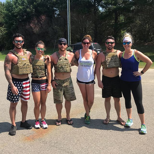 "Every year Cory and I do ""The Murph"" to honor those who have sacrificed for our great country. This year we were fortunate to do it together and had a few friends join us! Thanks @crossfitbaile for hosting! 🇺🇸💪🏼"